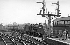 King's Lynn railway station - Bank Holiday excursion train in 1956