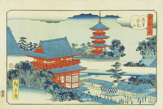 Woodblock printing in Japan - Aizuri-e print: Kinryuzan Temple in Asakusa from the series Famous Places in the Eastern Capital by Hiroshige II