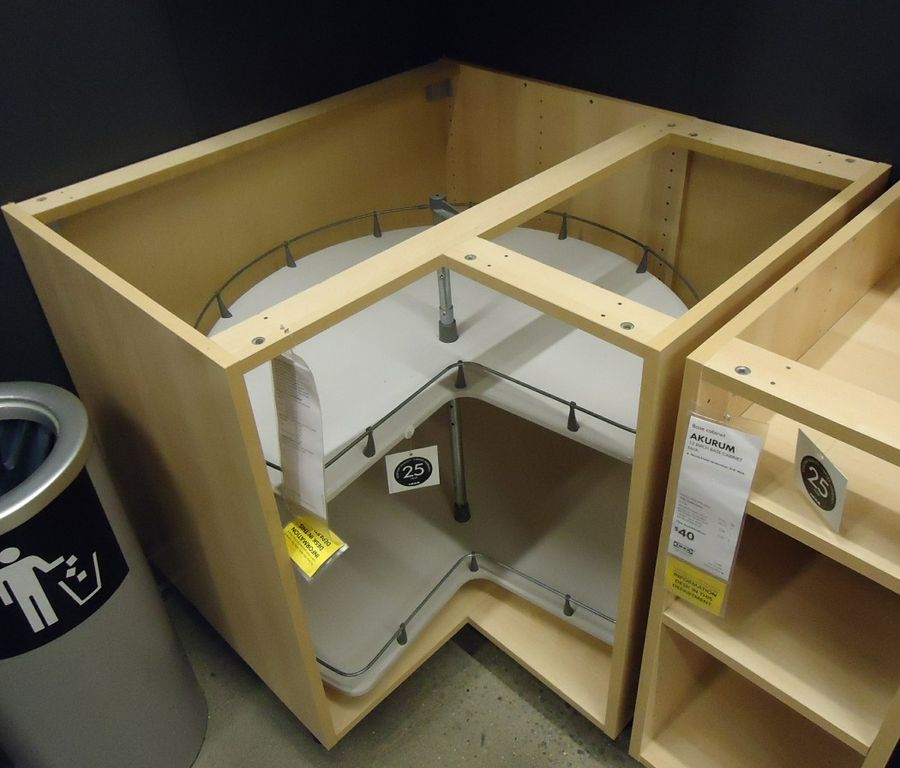 File kitchen cabinet corner design showing turntable for Service void kitchen units