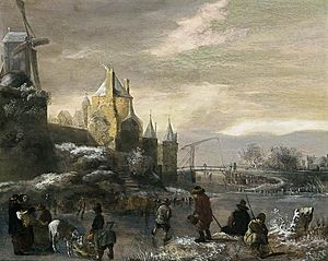Nicolaes Molenaer - Winter landscape with skaters