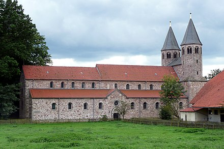 Bursfelde Abbey has continued as a Lutheran convent since A.D. 1579 Kloster Bursfelde von NO.jpg