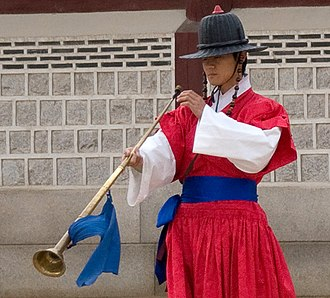 Traditional Korean musical instruments - A player of the nabal