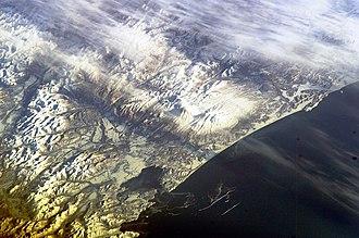 Avachinsky - Image: Koryaksky and Avachinsky volcanoes from the ISS