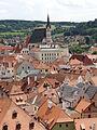 Kostel sv Víta a historické centrum - Český Krumlov.JPG