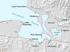 Noorvik, Alaska - Map showing Kotzebue Sound and the town of Noorvik