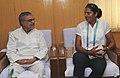 Krishna Poonia, Gold medal winner (Women's Discuss Throw event) in XIX Commonwealth Games-2010 Delhi, calls on the Union Minister for Rural Development and Panchayati Raj, Dr. C.P. Joshi, in New Delhi on October 13, 2010 (1).jpg