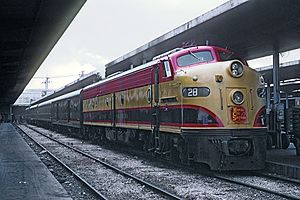New Orleans Union Passenger Terminal - The Kansas City Southern Railway's Flying Crow at New Orleans Union Terminal on November 22, 1967