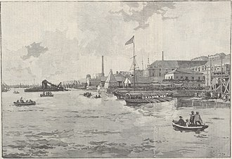 Exile and death of Pedro II of Brazil - Landing of Dom Pedro on Lisbon: The imperial boat approaching the Navy's Arsenal.