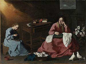 Pentimento - Christ and the Virgin in the House at Nazareth by Zurbarán, Cleveland.
