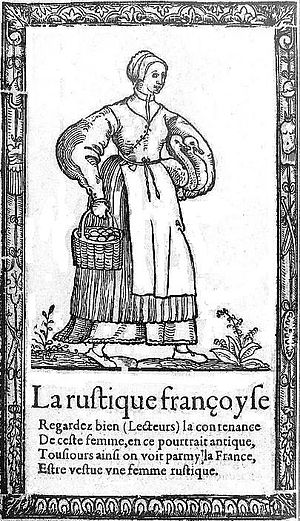 Richard Breton - Costume of the French countrywoman, woodcut from Breton's Recueil des Habits (1564)