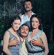 Dall'alto, in senso orario: Pippo Franco, Luciana Paluzzi, Domenico Modugno ed Eleonora Giorgi sul set de La sbandata (1974).