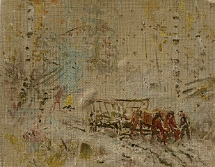 Winter Landscape with a Hay Wagon