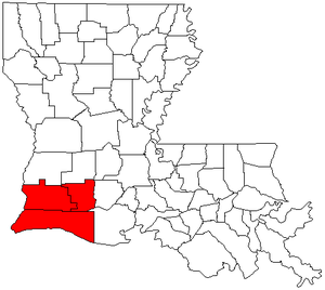 Lake Charles–Jennings CSA - Map of Louisiana highlighting the Lake Charles–Jennings combined statistical area