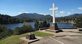 Lake Junaluska, North Carolina - A Christian cross stands above the community