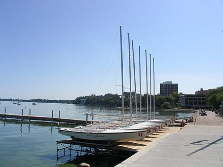 Hoofer Badger Sloops on Lake Mendota behind Memorial Union Lake Mendota Madison, WI.jpg