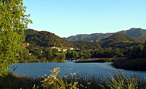 Lake Sherwood, California - Lake Sherwood and the Santa Monica Mountains.