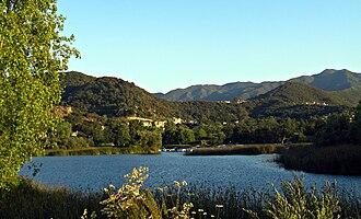 Lake Sherwood, California - Lake Sherwood and the Santa Monica Mountains.