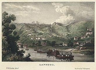 Llandogo - Coloured lithograph by William Henry Bartlett, c. 1845