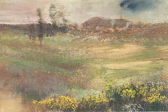 "Friedrich Gutmann - Edgar Degas, ""Paysage Avec Fumée de Cheminées"" (""Landscape With Smokestacks""), 1890, pastel over monotype, Art Institute of Chicago."