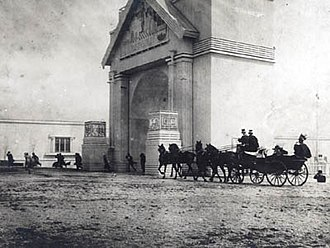 Danish National Exhibition of 1909 - The royal coach on opening day going to the Vault Hall with the industry exhibition