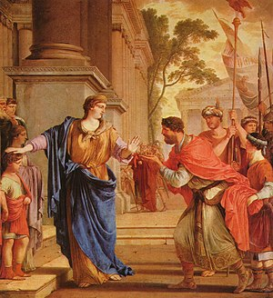 Cornelia Africana - Cornelia pushes away Ptolemy's crown, by Laurent de La Hyre