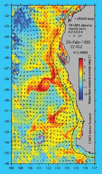 Leeuwin Current - Data from two satellite instruments is used in constructing this image of the Leeuwin Current. Sea surface temperature information comes from the US NOAA 14 satellite while the surface current velocity is derived from sea level measurements made by the satellite-borne altimeter. Sea level data from the US/French Topex/Poseidon and European ERS altimeters are combined