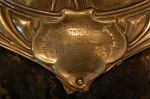 Sir James Rankin, 1st Baronet - Close up of a trophy, presented by Rankin to the Leominster Air-Gun League in 1909, and now in Leominster Museum