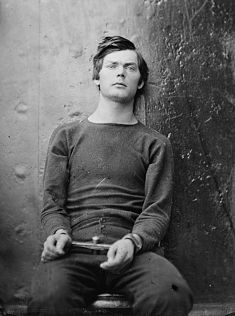 Lewis Powell (conspirator) - Powell in wrist irons aboard the USS Saugus, photograph by Alexander Gardner, 1865