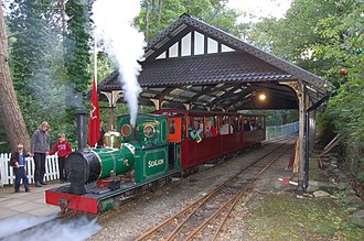 Groudle Glen Railway - Sea Lion about to depart from Lhen Coan with an evening service, August 2006.