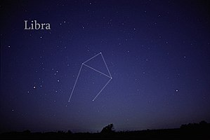 Libra (constellation) - The constellation Libra marked on a naked eye view.