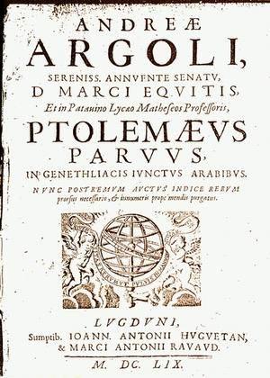 Andrea Argoli - 1659 title page of one of Argoli's books.