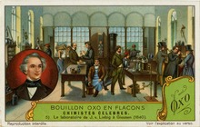 Liebig's laboratory, Chimistes Celebres, Liebig's Extract of Meat Company Trading Card, 1929 (Source: Wikimedia)