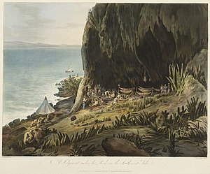 Battle of Diamond Rock - Picturesque Views of the Diamond Rock... A Lodgement under the Rock on the South-west Side