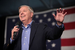 Lindsey Graham presidential campaign, 2016 - Graham speaking at an event hosted by the Iowa Republican Party in October 2015.