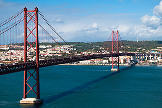 European route E90 - The 25 de Abril Bridge connecting Almada to Lisbon, Portugal