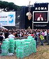 With temperatures in the 30s, fans went through a lot of water at the Live 8 concert in Rome