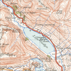 Llyn Cwellyn - A map of the lake from 1947