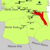 Localización de Alfafar en la comarca de la Huerta de Valencia.png