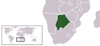 A map showing the location of Botswana
