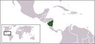 A map showing the location of Nicaragua