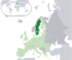 Lokasi  Sweden  (dark green)– in on the European continent  (light green & dark grey)– di Kesatuan Eropah  (light green)