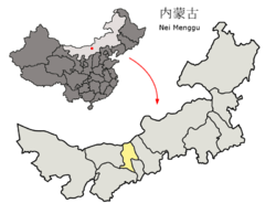 The territory of Baotou prefecture-level city (yellow) within Inner Mongolia