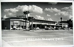 Loma Linda, California - A shopping center at Loma Linda University pictured in the early 1950s.
