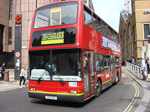 London Buses route 133 - London General Plaxton President bodied Dennis Trident 2 at Liverpool Street bus station in April 2007