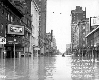 Ohio River flood of 1937 - Downtown Huntington, West Virginia, during the Great Flood of 1937