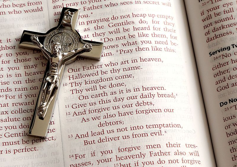 File:Lord's Prayer and a crucifix.jpg