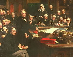 Cobden–Chevalier Treaty - Lord Palmerston Addressing the House of Commons During the Debates on the Cobden–Chevalier Treaty in February 1860, as painted by John Phillip (1863).