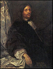 Oil painting of a middle aged white man with long dark hair and full mustache, wearing a voluminous black robe with a white blouse with frilled neck tie and long, puffy sleeves. His body is turned slightly to the right, his face with stern expression turned towards the viewer.