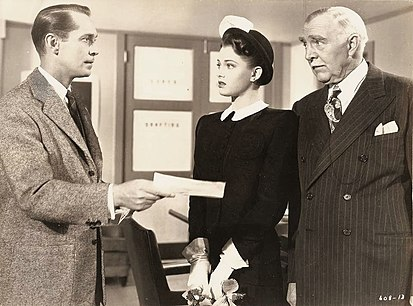Left to right: Franchot Tone, Frances Rafferty and Clarence Kolb Lost Honeymoon (1947) still 1.jpg