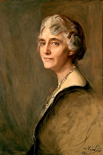 Lou Henry Hoover - A portrait of Lou Henry Hoover by Richard Marsden Brown hangs in the Vermeil Room of the White House.
